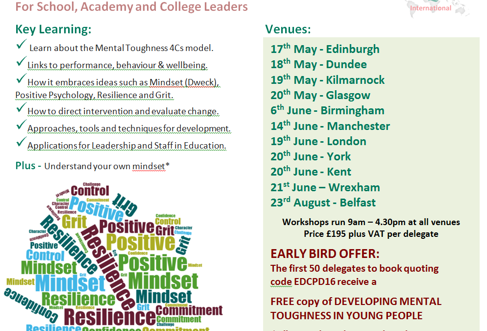 DON'T MISS OUR EARLY BIRD OFFER – CPD Workshops – Discovering Mental Toughness