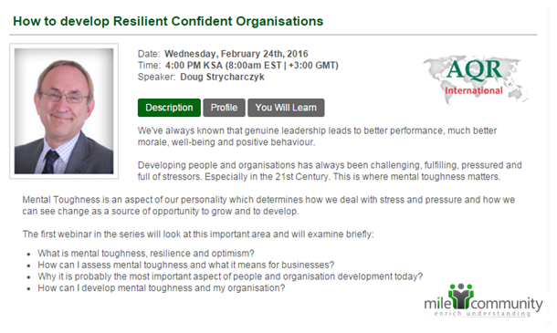 Webinar on developing resilient confident organisations