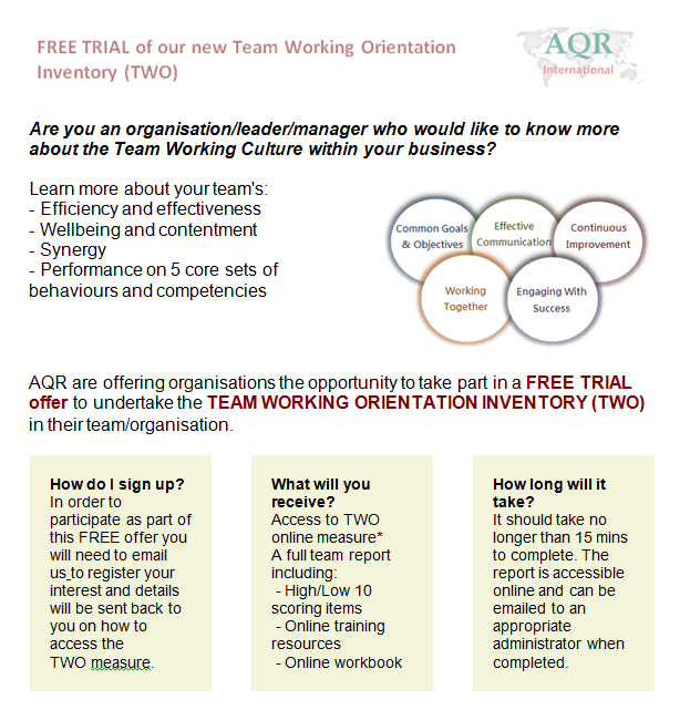 FREE TRIAL of our new Team Working Orientation Inventory (TWO)
