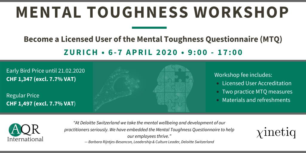 Mental Toughness Workshop – Zurich 6-7 April 2020
